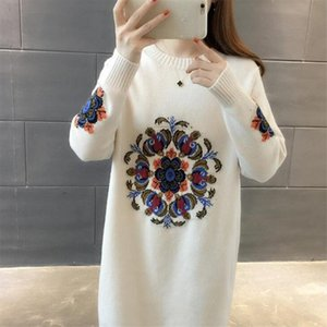 2020 New Spring Autumn Winter Women Knitted Pullovers Sweater Female Long Sleeve Embroidery Sweater Dress Drop Shipping