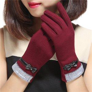 Mode dentelle Bow femmes hiver Gants en velours Femme Mesdames écran tactile Eldiven haute qualité Gants coupe-vent femmes Guantes