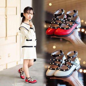 2020 Autumn pearl girls shoes rivet kids shoes fashion princess girls high-heeled shoes Pu leather kids party dress shoe retail