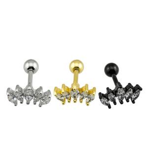 2PCS хирургической стали 316L хрящ Штанга серьга циркон камень цвет золота ухо хрящ козелка губной Helix пирсинг украшение