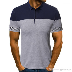 Sleeve Slim Mens Tees Casual Mens Business Tops Panelled Striped Print Lapel Neck Mens Polos Summer Short