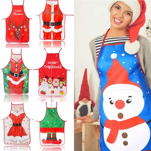 19.68*27.55inch Christmas Aprons Funny Cartoon Apron Adjustable Kitchen Cookie Apron for Xmas Party 7 Styles