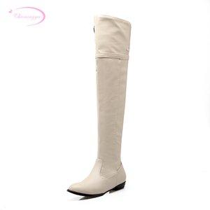 Chainingyee strada punta aguzza sexy over fibbia al ginocchio stivali di alta moda cintura zip nero marrone donne piane beige stivali da equitazione