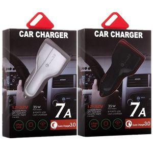 اكتب c الموانئ سيارة شاحن USB 3 شحن سريع السريع السيارات محول الطاقة 35W 7A سيارات الشحن لباد فون 8 × سامسونج S7 S8 الروبوت الهاتف