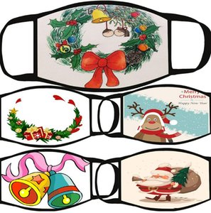 Christmas Gift Printed Civilian Dust-Proof Hanging Ear Mask, Polyester Washable Material, All-Season Universal Cotton Cartoon Mask