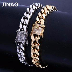 Jinao nueva joyería de Hip Hop New Style Oro Bling hacia fuera helada de la pulsera pavimenta piedra de la CZ Enlace hombres regalo para la pulsera