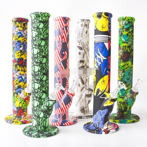 14.2 Inches Flag Printing Silicone Water Pipes Bongs 14.4mm Joint Glass sets Mini bongs dab rig glass pipes free