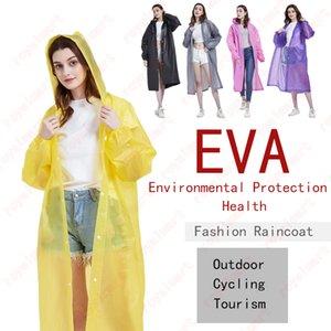 EVA Non-Disposable Raincoat Adult Fashion Clear Rainwear Poncho Outdoor Tourism Thicken Designs Slicker Reusable Raincoats GWA1369