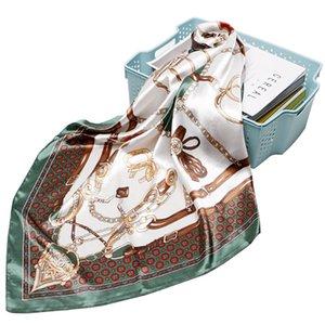 ترف الحرير ساحة الحجاب وشاح 90X90CM المرأة الفولار فام المنديل مع قلادة سلسلة طباعة باندانا