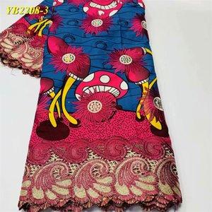 6 kilometre elbise son yüksek kaliteli balmumu kumaş nakış baskı ve boyama kumaş Afrika düğün