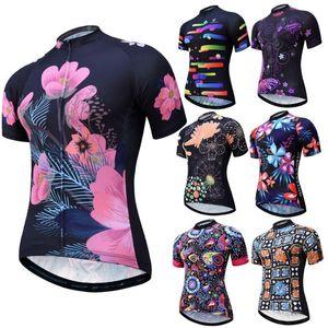 Велоспорт Джерси Женщины дышащий с коротким рукавом MTB Джерси New Pro Team Сублимированные печати велосипедов Одежда Wear
