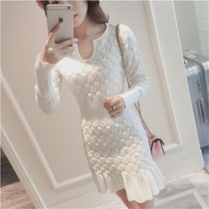 2020 Autumn Winter Long Sections Slim Bag Hip Dress Women Long Sleeve U Collar Pullover Knitted Dress OL Office Lady Dress High Quality