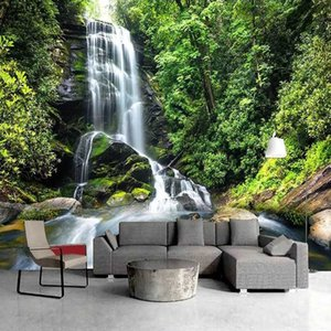 Green Forest Waterfall Custom 3D Wall Murals Wallpaper Living Room Bedroom Sofa TV Background Natural Landscape Photo Wall Paper