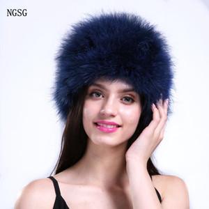 penas NGSG Natural chapéus de pele fina para as mulheres da moda primavera skullies gorros de inverno tampão azul bonito pompons cores Outono chapéu senhora