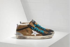 GGDBGOOSES de oro de cuero genuino de las vellosidades del dermis del tenis damas Oxford zapatos de cuero del vestido de gamuza para hombres zapatillas de deporte en línea JL