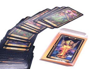 Tarjeta de felicitación adivinación Partido juego de mesa Inglés Oracle Fate doradas Jugando Nostálgico Familia Fácil Tarot Tarot Card qylyKN