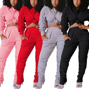 Women Tracksuit Two Piece Set Stacked Sleeve Sweatshirt Stacked Jogger Sweatpants Suit Fitness Outfit Matching Set set075