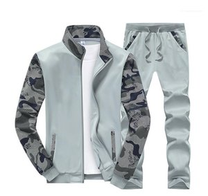 Cardigan Mens Two Piece Sets Male Clothing Camouflage Designer Mens Tracksuits Long Sleeve Panelled Printed Mens 2PCS Sets Sports