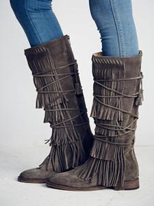 Düz Püskül Bayanlar Boots Orta Buzağı Fermuar Up Kış Kadın Ayakkabı Yuvarlak Burun Dar Kayış İnek Süet Gladyatör Uzun Çizme Boyut 10