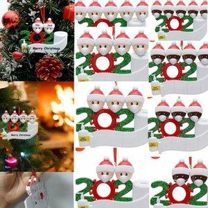 2020 Noël Noël Hanging Ornaments famille Survivor Quarantaine Arbre décor blanc PVC noir 2 3 4 5 Pendentif personnalisé famille LJJK2482
