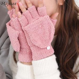Mittens das mulheres confortáveis luvas de Inverno Mulheres Fingerless Coral Cor velo doce quente linda estudante na moda Estilo malha macias