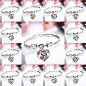 12PC Renkli Kristal Rhinestone Bilezik Aşk Boncuk Zinciri Bilezikler Aile Nana Büyükanne Kardeş Anne kızı Yeğeni Hediyeleri Mücevher