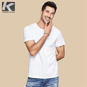 KUEGOU 2019 Summer 100% Cotton Plain White T Shirt Men Tshirt Brand T-shirt Short Sleeve Tee Shirt Fashion Clothes Plus Size 396 0924