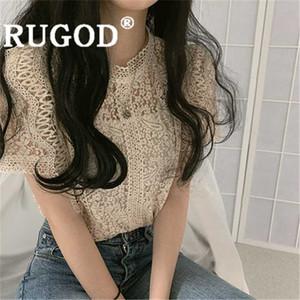 RUGOD blusa de las mujeres de la vendimia sólida o bordados de encaje de cuello hueco hacia fuera la camisa delgada de la nueva manera del verano femenino de Corea del dulce elegante top