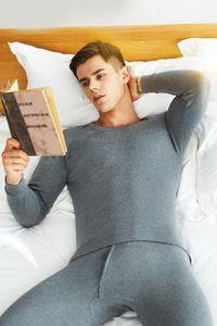 Men's thermal underwear pure cotton thin round neck solid color autumn clothes autumn pants set base shirt pajamas