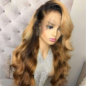 Honey Blonde Lace Front Wig Glueless Silk Base Wigs Human Hair Ombre Wig Black Roots 1B 27 Body Wave Brazilian Virgin Hair