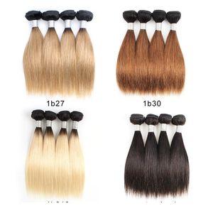 H Peruvian Cheap Ombre Blonde Human Hair Weave Bundles 50g Bundle 10 -12 Inch 4 Bundles Set Natural Straight Hair Remy Hair Extensions