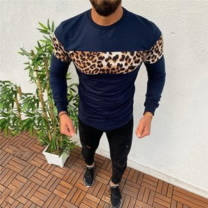Camisas dos homens Moda Leopard Painéis camiseta Casual Cor Natural Long Sleeve camiseta Homens S Roupa Nova Designers T