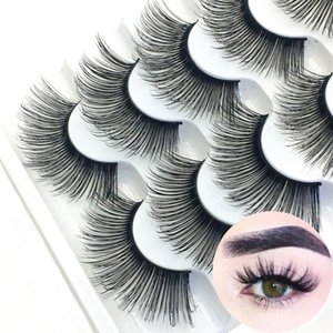 5 Pairs 3D Faux Mink Hair False Eyelashes Natural Long Wispies Flared Lashes Handmade Eye Lashes Extension Eye Makeup Tools