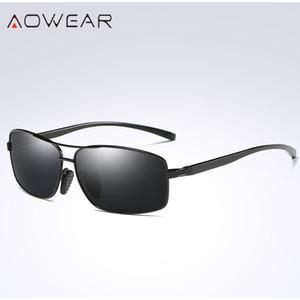 AOWEAR Erkek Dikdörtgen Sürüş Güneş gözlüğü Erkekler Polarize Sürücü Güneş Marka Tasarımcı Metal Gözlük Gafas gözlük