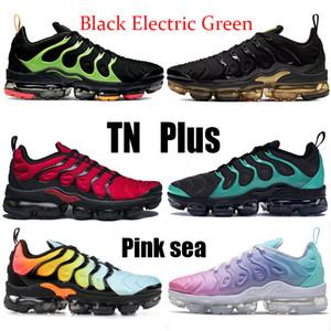 Новый TN PLUS Черный Электрический Зеленый Розовый Море Женщины Беговые Обувь Тройной Черный Белый Нобл Красный Синие Мужские Кроссовки Белевые Аква Шмель