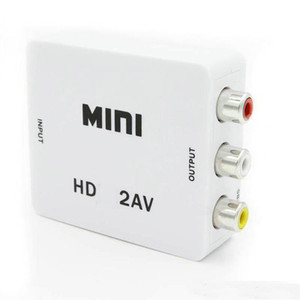 Mini HD 1080P 2AV Video Converter Box HD to RCA AV CVSB L R Video Support NTSC PAL Output HD TO AV Adapter OM-CD8