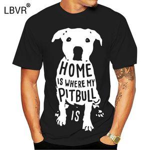 La casa è dove di Natale di natale di Natale divertente Mens T Shirt mio Pitbull Is Citazione maglietta Uomini Corto Tshirt in cotone a maniche