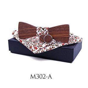 Шея галстуки капля свадебные аксессуары флористические квадратные штрафы запонки мода орех деревянные бабочки с подарочной коробкой