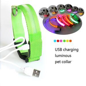 LED الحيوانات الأليفة الياقة USB قابلة للشحن LED طوق الكلب ليلة السلامة وميض جرو نايلون الياقة مع كابل USB شحن DHC2361