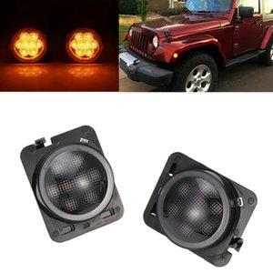 1Pair Car Front Fender LED Side Marker Turn Signal Light Smoke Lens for Wrangler JK 2007-2020