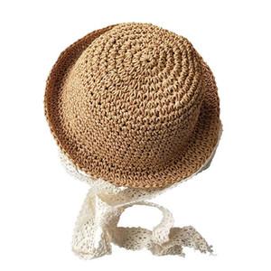 Fatto a mano cappello di paglia estate neonate Lace antivento Beach Sun del cappello floscio Bonnet Cappelli HSJ88