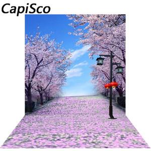 Capisco Fleur de cerisier Arbre Jardin Thème Scène Route photo fond tissu vinyle haute qualité fond Scenery impression informatique
