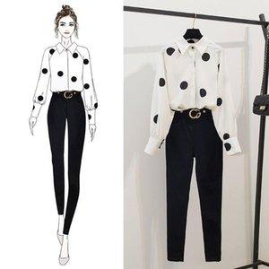 ICHOIX 2020 Primavera Mulheres mangas compridas Dot camisas + magros Calças 2 pcs Conjuntos Fatos de moda feminina Kits brancas