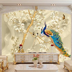 2020 custom wall covering retro 3D peacock magnolia mural painting living room room TV bedroom background decorative wall covering