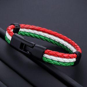 """Couro Davieslee bandeira nacional da Itália Homens Espanhol Bracelet por Mulheres handemade Pulseira 8"""" 20 centímetros DLLB661"""