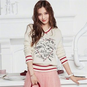 Runway Sweater Women 2020 Fashion V neck Letters Graffiti Wool Blend PUllover Sweaters Ladies Jumper Knitwear 0925