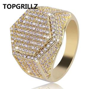 TopGrillz Hip Hop Moda Anéis Cobre Ouro Prata Cor Gelado Out Bling Micro Pave Cubic Zircon Geometry Anel Charms for Men