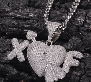 2 Letters Heart Custom Lover Couple Pendants Necklace Hip Hop CZ Stone Bling Iced Out Men Hip Hop Rapper Jewelry88
