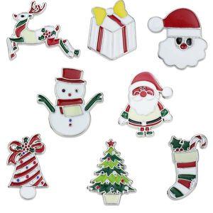 Cartoon spilla di Natale Babbo Natale sveglio del pupazzo di neve della Bell Elk Albero di Natale pin spilla bel calza natale Distintivo della decorazione del partito HHB1717