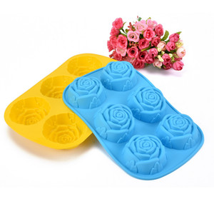 Silicon Rose Candles Soap Molds Cake Chocolate Candy Jelly Mould 6 Cavities Resin Designer DIY Concrete Fondant Clay Molds